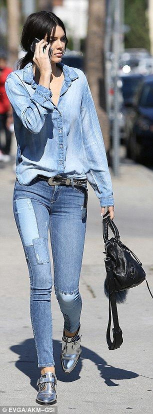 Denim darling: Kendall sported head-to-toe denim on her day out, including an oversized bu...