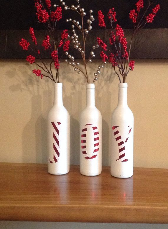 holiday decor. christmas decor. joy. Joy decorative Christmas bottles Beautiful by SEVENTHandJ on Etsy, $25.00: