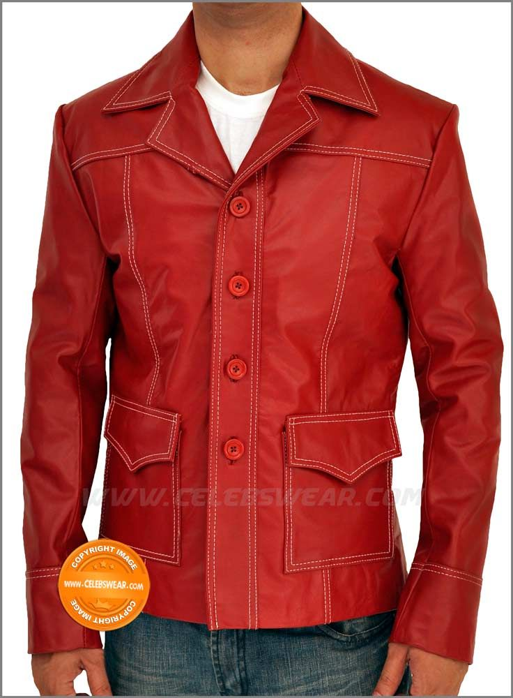 Brad Pitt Fight Club Halloween Leather Jacket Costume  Dont Miss The Fascinating Offer to Buy Red Fight Club Leather Jacket at the Lowest Price. also, We Now Offer Discounts on Tyler Durden Brad Pitt Jacket.