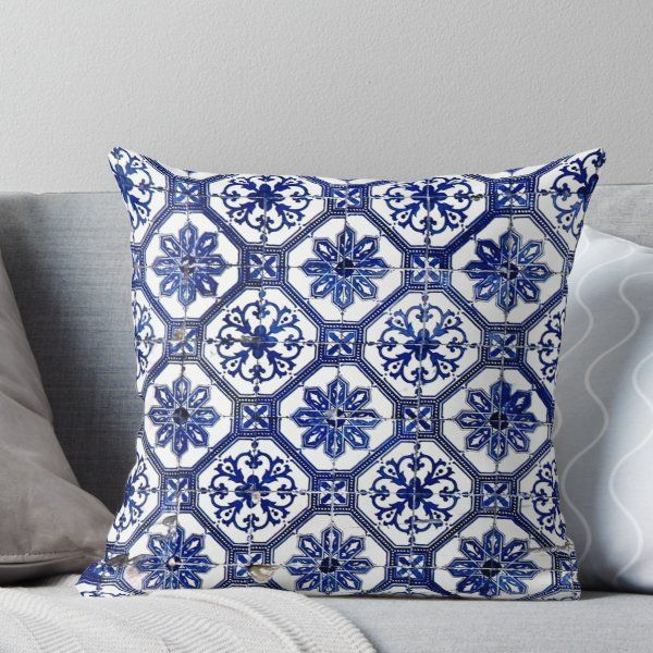 Blue And White Portuguese Tile Throw Pillow By Alexandrastr Throw Pillows Portuguese Tile Living Room Decor Pillows