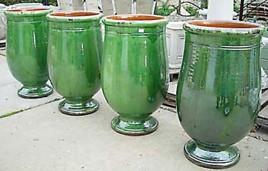 French Poterie d'Anduze Glazed Terracotta Footed Olive Jars | Online Garden Store