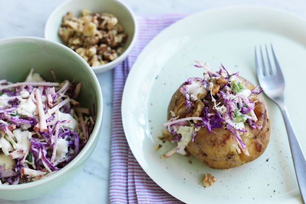 For a lighter option make coleslaw with yoghurt instead of mayonnaise. It tastes delicious piled onto a baked spud.