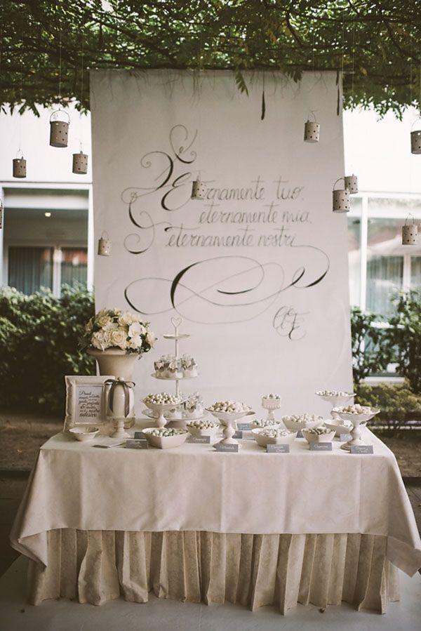 handwritten sweet table backdrop // photo: serena cevenini http://weddingwonderland.it/2015/03/matrimonio-romantico-orchidee.html
