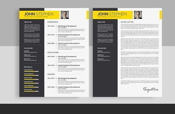 Resume Templates Design Resume Cv 2 Page Creativework247 Fonts Graphics Themes Templates Resume Cv Resume Design Template Resume
