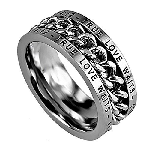 """SZ 11 - Made From Stainless Steel High Polished Spinning Chain Center Comes In Black Velvet Gift Bag Top Says: True Love Waits – 1 Timothy 4:12"""" repeated Bottom Says: True Love Waits – 1 Timothy 4:12"""" repeated."""