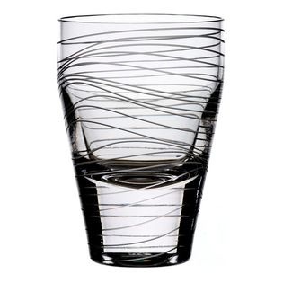 Bomma - Dune Collection 10 oz Crystal Water Glass --  Designer Maria Hostinova has created robust pieces marked by cleanly defined shapes mixed with the delicate decor of flowing waves to underscore softness and playfulness with a touch of dynamic movement.