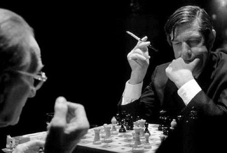 John Cage and Marcel Duchamp playing chess.