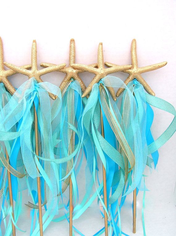 Little MERMAID Starfish WAND Ribbon Wand Under by SeaLaneStudio