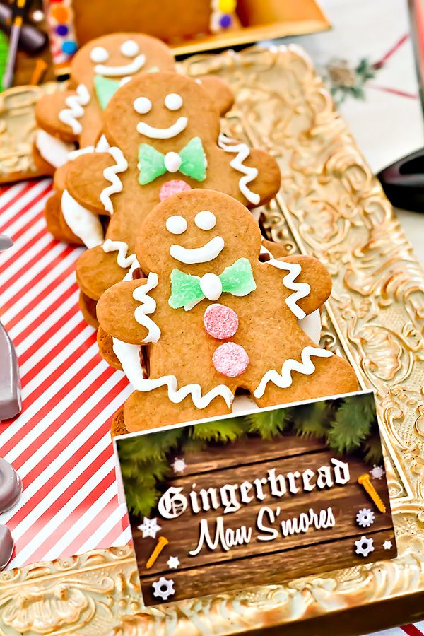 Cute & Clever Santas Workshop Birthday Party: Gingerbread man smores