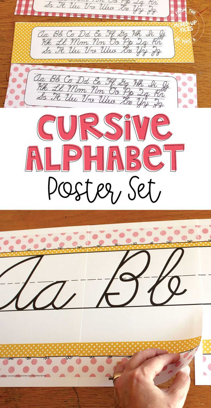 These Printable Cursive Handwriting Alphabet Strips Can Be Taped To Student Desks Or They Make Great Boo Writing Posters Learn Handwriting Cursive Handwriting [ 1422 x 736 Pixel ]