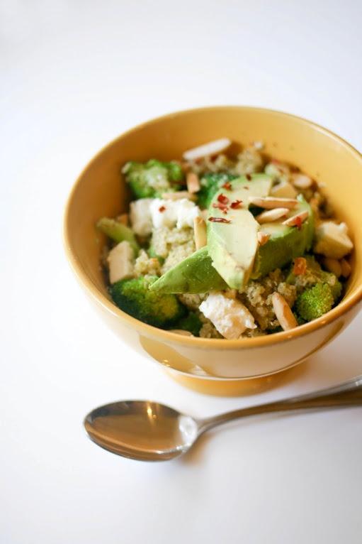 Double Broccoli Quinoa with Broccoli Pesto and Avocado