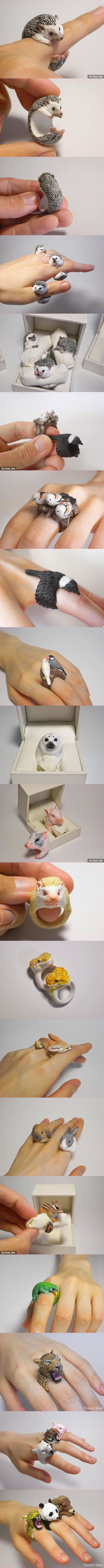 Very Realistic Animal Rings By Jiro Miura :D I want!!!!