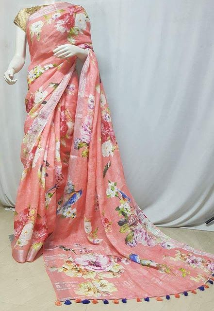 43515d1dfc Pure Lenin sarees with digital print | Buy Online Lenin Silk Sarees -  Elegant Fashion Wear