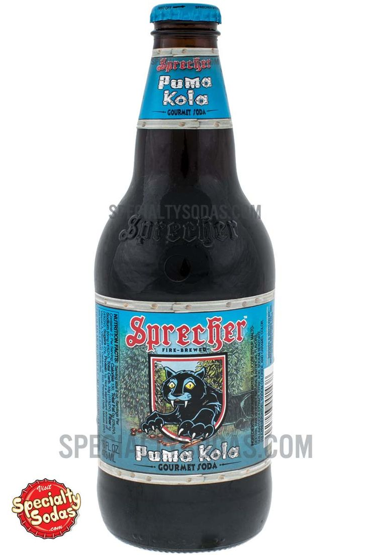 "Product Description Sprecher Puma Kola comes in a 16 oz (473 mL) glass bottle with playful bright blue, red and white labeling that reads, ""Sprecher. Fire-Brewed Puma Kola Gourmet Soda."" The neck ment"