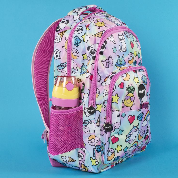 Kids school backpack. Unique,colourful design with adorable characters such as unicorns, pandas, little kittens etc. Bright and vivid design. Ideal for young adults with busy lifestyle. Multi-compartment structure with inbuilt laptop sleeve and several mesh pockets. Water-proof, sturdy design will provide durability.