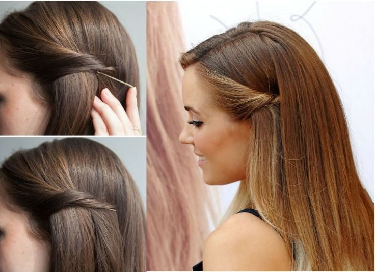 STEALTHY HAIR PULL-BACK Want to get those pesky strands of hair out of your face with panache? Twist the hair back and slip a bobby pin into the center. The hair will hid the pin, and you'll have an elegant curl holding the hair back from the side of your face.