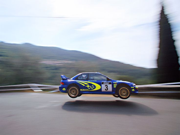 Richard Burns flying his WRC Impreza during the Tour De Corse rally back in 2000.