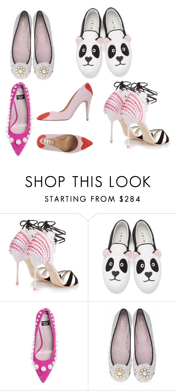 """Naive romantic shoes"" by julia-vayshlya ❤ liked on Polyvore featuring Sophia Webster, Joshua's, Boutique Moschino and Never Ever"