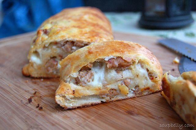 Sausage Bread    I make mine a little different.  I use shredded mozzarella, and provolone slices...