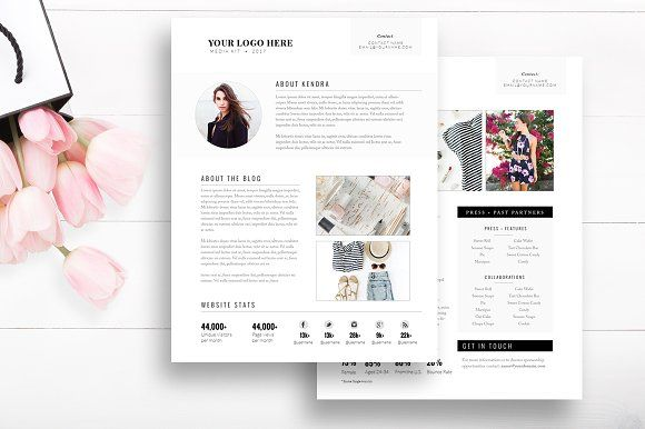 Media Kit Template 2 Page by By Stephanie Design on @creativemarket