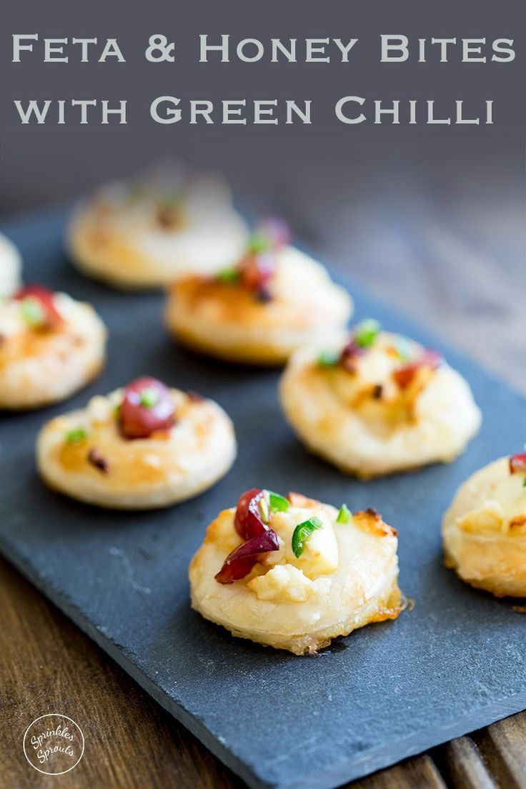 These Feta and Honey Bites with Green Chilli are the perfect little bite. Sweet from the honey, salty from the feta, fruity from the grape and then the chilli hits your lips and everything goes POW!!!