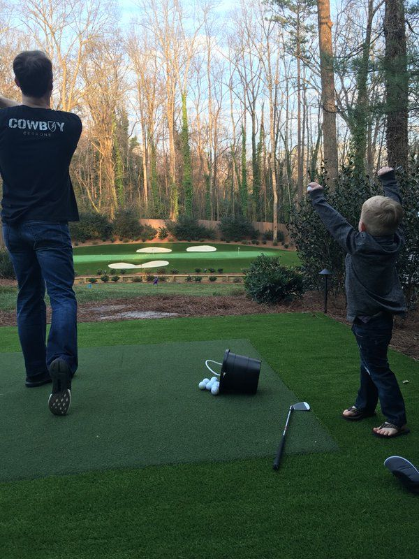 Kevin And Keelan Harvick Practicing Golf In Yard March 2016