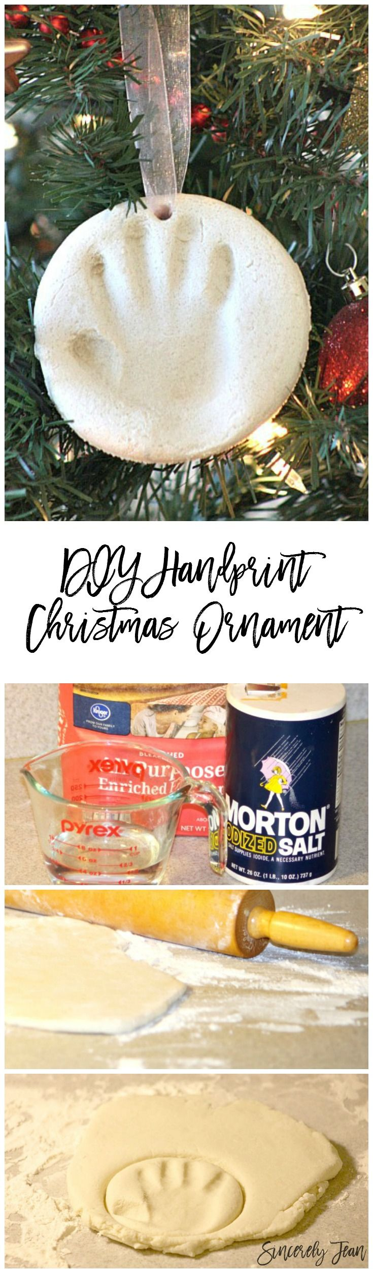 DIY Handprint Christmas Ornament - Simple Christmas craft for children! Make memories in an ornament! | www.SincerelyJean.com