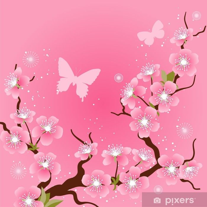 Card With Stylized Cherry Blossom Flowers Poster Pixers We Live To Change Cherry Blossom Flowers Blossom Flower Flower Vector Art