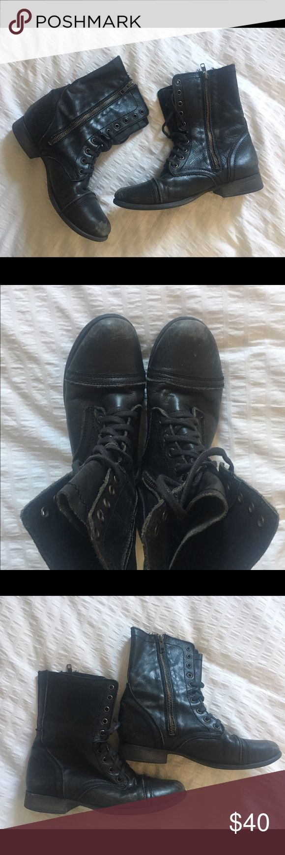 Steve Madden Combat Boots Clearly worn but I think the worn-ness makes them look super cool! Besides the leather wearing, in good shape! Steve Madden Shoes Combat & Moto Boots