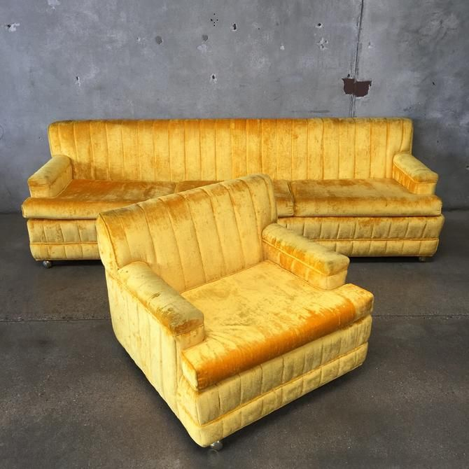 Vintage Sunshine Yellow Crushed Velvet Sofa Amp Chair Velvet Sofa Crushed Velvet Sofa Vintage Velvet Sofa