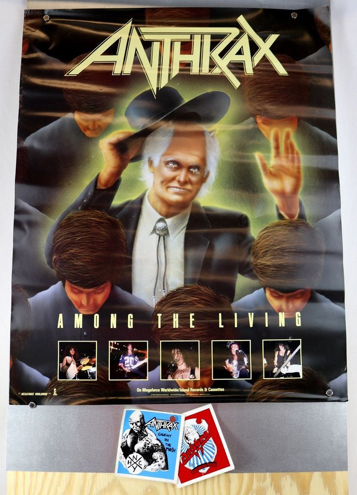 Anthrax 1987 Among The Living Promo Poster Island Records 24x30 + Bonus Stickers #Vintage