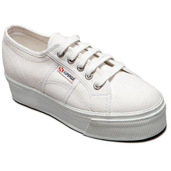 Superga  Platform Sneaker ($80) ❤ liked on Polyvore featuring shoes, sneakers, white, superga, retro style shoes, 80s shoes, white platform sneakers and superga sneakers