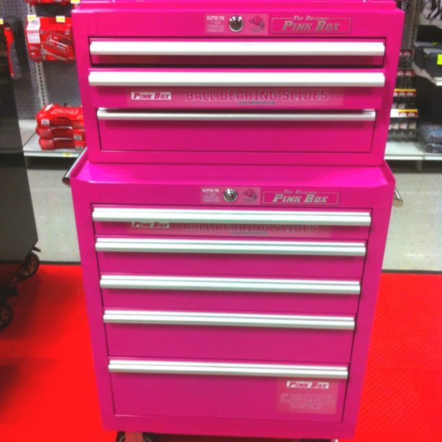 pink tool box for all my makeup, nailpolish, and other beauty paraphernalia!