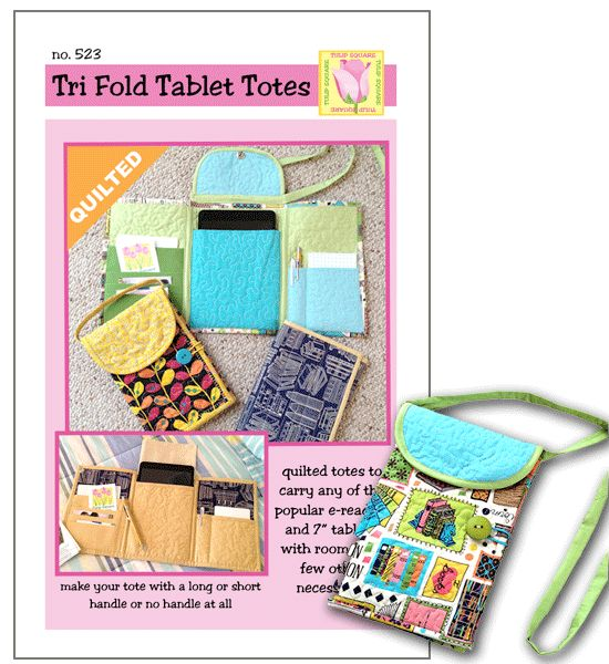 "Quilted Tri-Fold Tote for E-Readers & 7"" Tablets - $6.00"