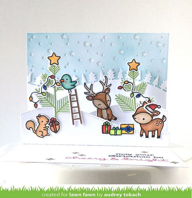 Lawn Fawn Cheery Christmas card scene