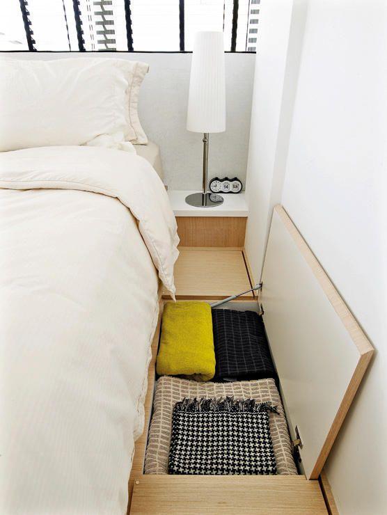 Hidden storage under platform bed