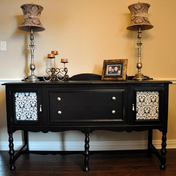 Black Buffet or Sideboard in Black with Damask Fabric Doors