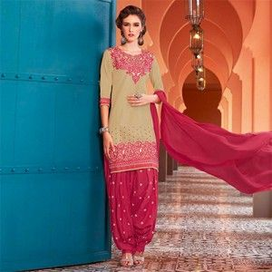 Beige - Pink Embrodiered Yoke Patiala Suit