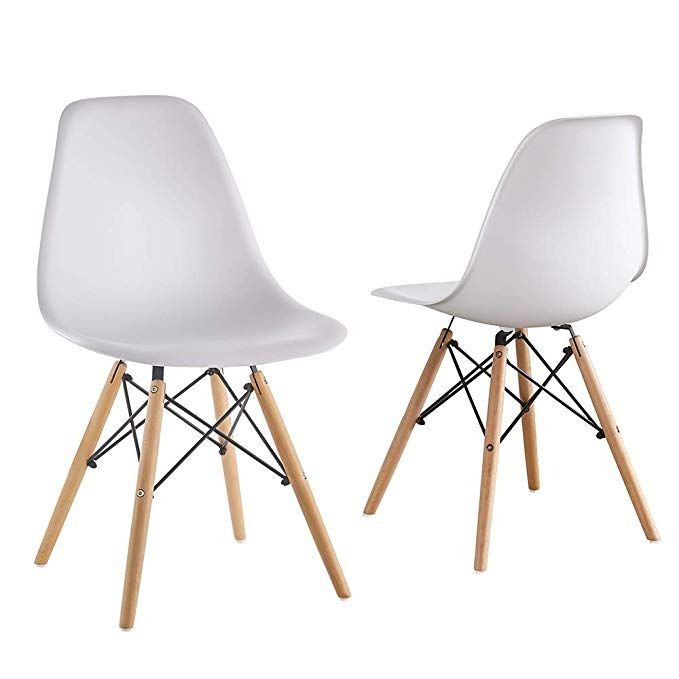 Mid Century Modern Eames Style White Armless Pp Plastic Chair Set