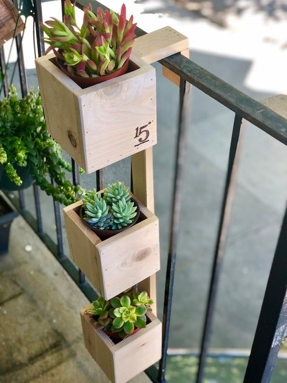 Tiered Balcony Planter Box Etsy In 2020 Balcony Planter Boxes Balcony Planters Small Balcony Garden