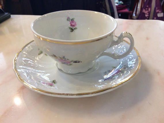 Bernadotte Czechoslovakia Sonata...Teacup and saucer...Rose with gold