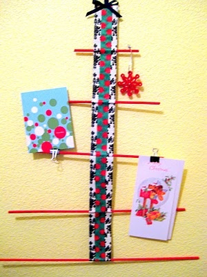 card tree with dowels and duct tape!