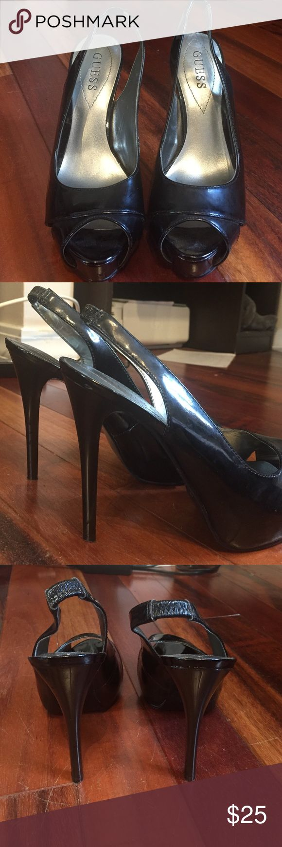Guess Heels ! Size 6M (m meaning medium width-regular shoe) Good condition- slight wear and tear. Worn very few times. Bottom soles are in good condition.  All black with peep toe and attached strap around the ankle. These no longer fit me, but I think they run a little smaller than a usual shoe. GUESS Shoes Heels