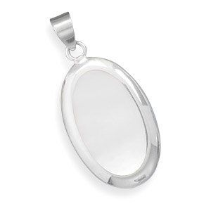 Sterling Silver Large Oval White Shell Inlay Pendant West Coast Jewelry. $56.95