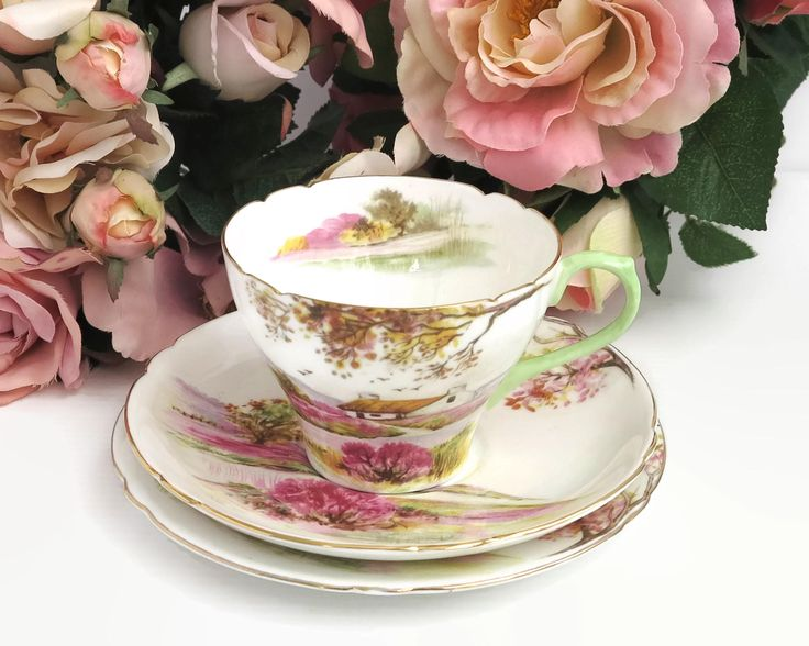 Shelley Old Ireland cup, saucer, and plate, hand painted depiction of Irish countryside with lots of pink, gilt trim, 13657, 1945 - 1966 by CardCurios on Etsy