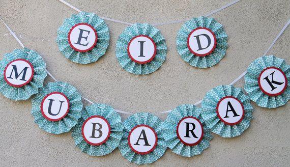Eid, Eid Decor, Paper Rosette Eid Mubarak Banner Eid Decoration by PicketFenceArts