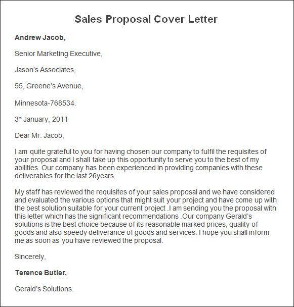 Sales Proposal Letter New Sample Sales Proposal Cover Letter Sales Proposal Cover Proposal Letter Business Proposal Template Sales Proposal