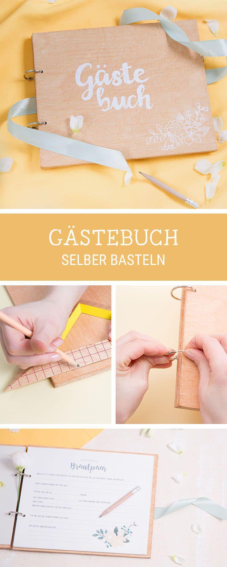 DIY-Inspiration für ein Gästebuch zur Hochzeit aus Holz, Hochzeitsgeschenk sel…