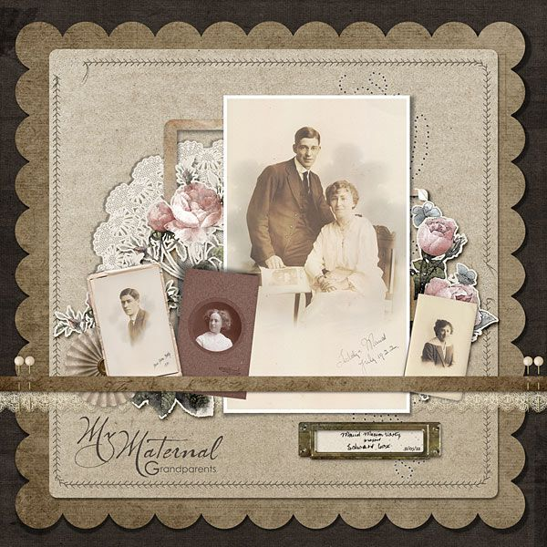 Simple & Easy Sepia Tone Page...My-Maternal-Grandparents Heritage Scrapbook Layout by DSP Designer Meryl.
