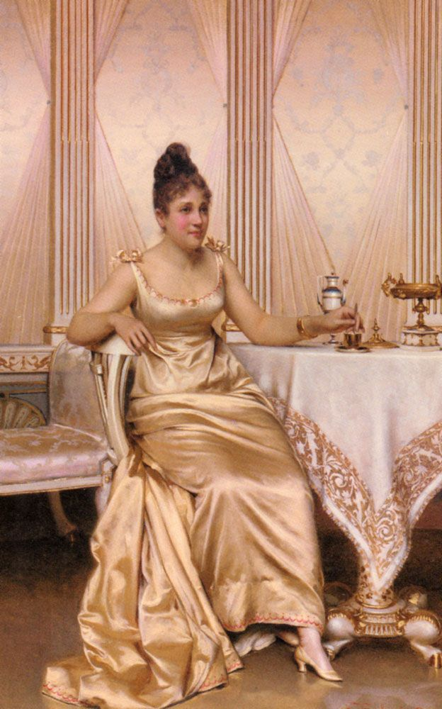 Afternoon Tea (Charles Joseph Frederick Soulacroix)...... I Love her gown - the fabric is gorgeous and I love the bows on the shoulders.   B.